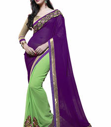 Buy Light Green and Purple embroidered Georgette saree with blouse half-saree online