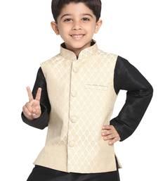 Beige woven silk blend boys-nehru-jacket