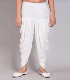 White Rayon plain stitched   girls dhoti