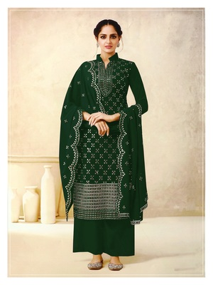 Women's Georgette Green Embroidered Semi Stitched Salwar Suit Palazzo Material