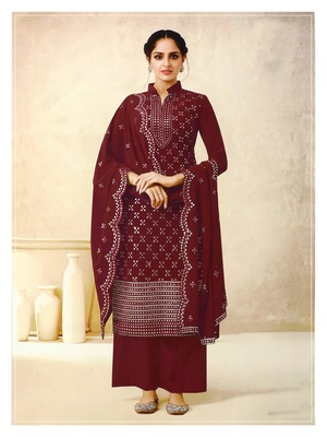 Women's Georgette Maroon Embroidered Semi Stitched Salwar Suit Palazzo Material