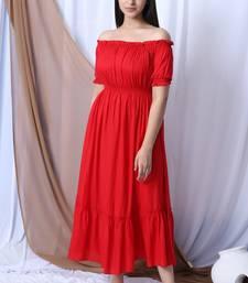 RED OFF SHOULDER LONG DRESS