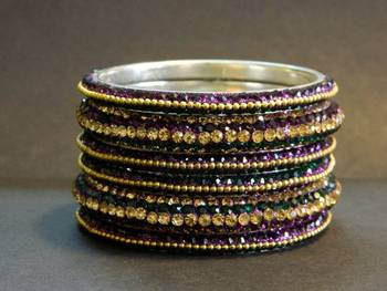 Glittering Green/Purple Crystal Bangle