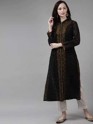 Black Embroidered Cotton Chikankari Kurti