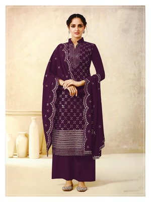 Women's Georgette Purple Embroidered Semi Stitched Salwar Suit Palazzo Material
