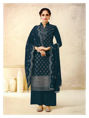 Women's Georgette Blue Embroidered Semi Stitched Salwar Suit Palazzo Material