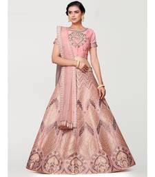 pink art silk semi stitched zari woven Choli & lehenga ghagra with dupatta