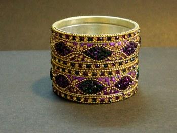 Indian handmade designer Purple/Green Bangle
