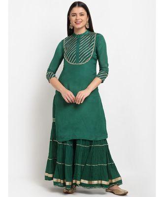 Glam Green Sequined Yoke Short Kurti with Sharara