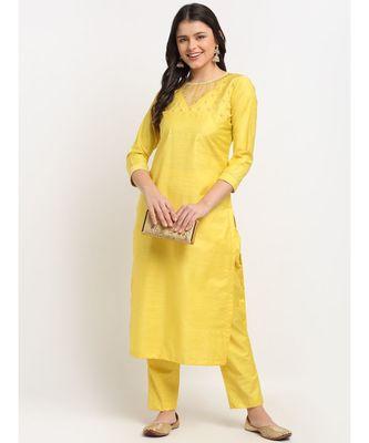 Glowing Yellow Sequined Yoke Straight kurti with Pants