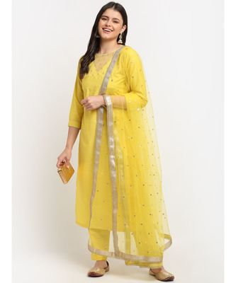 Glowing Yellow Sequined Yoke Straight kurti with Pants and Sequin Dupatta