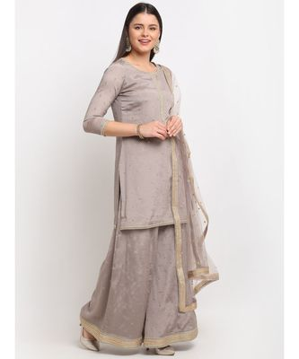 Shimmery Grey Short Kurti with Flared Palazzo and Sequin Dupatta
