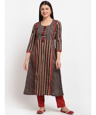 Dusky Brown Maroon Cotton Flared Kurti with Pants