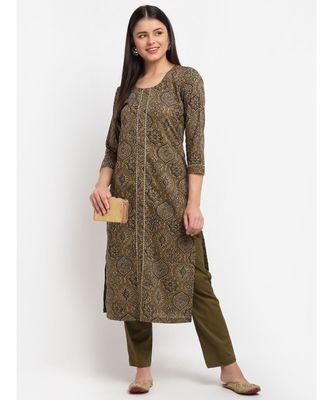 Mehndi Mughal Printed Gota Kurti with Straight Pants