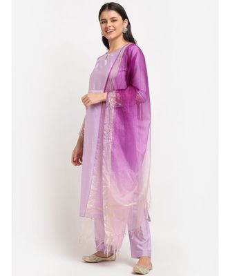 Lilac Straight Kurti with Pants and Shaded Dupatta