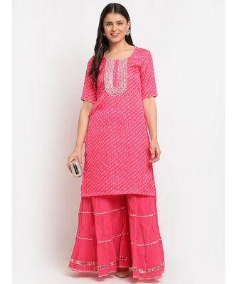 Pink Passion Bandhani Short Kurti with Sharara