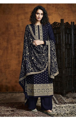 Blue Georgette Sequins Embroidery Salvar Suit Party Wear