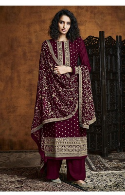 Maroon Georgette Sequins Embroidery Salvar Suit Party Wear