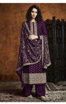 Purple Georgette Sequins Embroidery Salvar Suit Party Wear