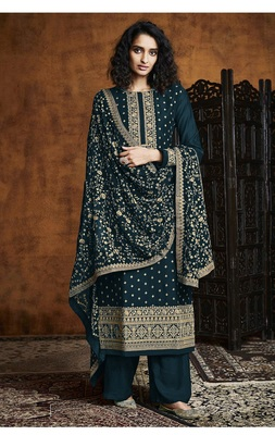 Green Georgette Sequins Embroidery Salvar Suit Party Wear