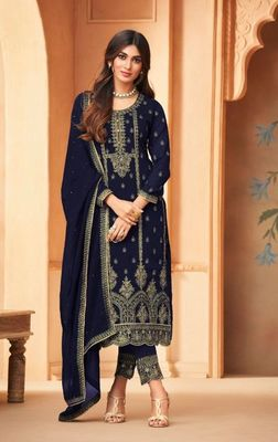 Blue Embroidered Straight Pant Suit Party Wear