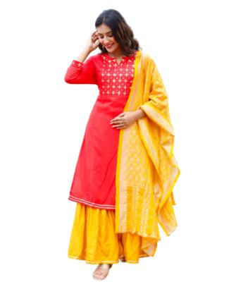 Beautiful Red embroidered Rayon kurta set