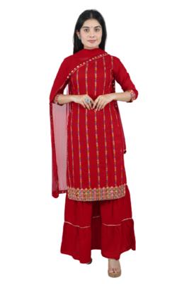 red embroidered rayon sharara kurti set