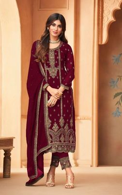 Maroon Embroidered Straight Pant Suit Party Wear