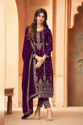Purple Embroidered Straight Pant Suit Party Wear
