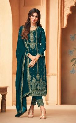 Light Green Embroidered Straight Pant Suit Party Wear