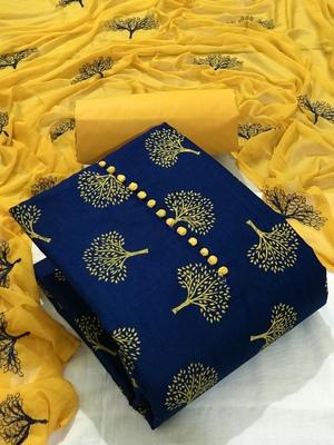 blue cotton slub printed unstiched  Dress Materials