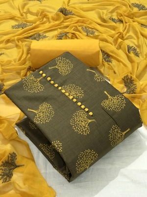 Brown Cotton Printed Salwar Suit Material  (Unstitched)