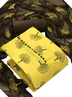 Yellow Cotton Printed Salwar Suit Material  (Unstitched)