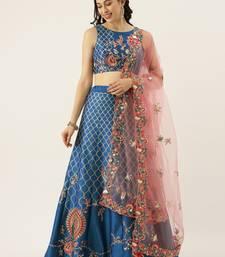 Blue Colour Satin Silk A-line Semi-Stitched Lehenga & Unstitched Blouse With Dupatta