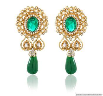 Kshitij Damsel   S Mirror Shaped Green Earrings
