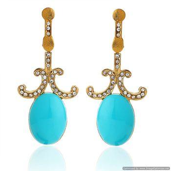 Kshitij Blue stone earrings