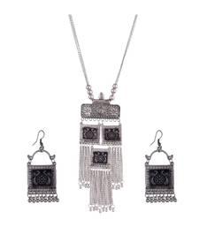 Silver Oxidized Long Pendant Necklace Set