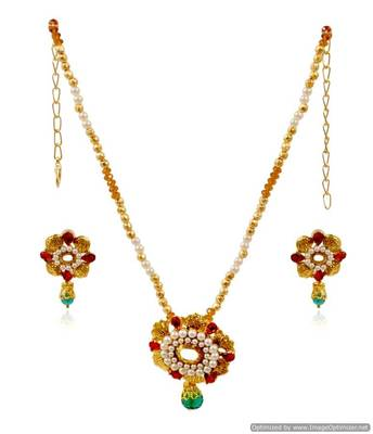 Kshitij Attractive Emerald Necklace Set