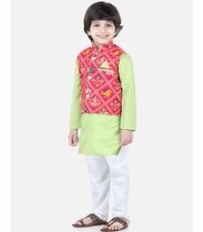 green Patan Patola Jacket Kurta Pajama 3 piece set