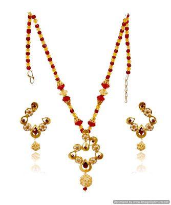 Kshitij Designer Red & Golden Necklace Set