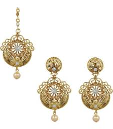 Gold stone antique gold Alloy  Maang tikka & Pair of Earrings