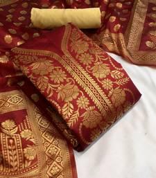 VredeVogel Red Banarasi silk Unstiched Dress Materials