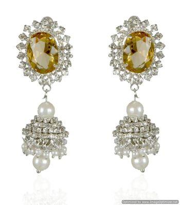 Kshitij Light Yellow Radiance Chandelier Earrings