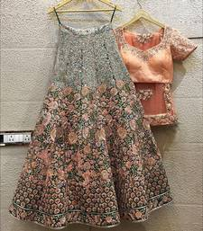 green art silk sequins work semi stitched half sleeve choli choli & lehenga with dupatta