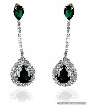 Kshitij Jewels Crystal Stone Studded Long Earrings - Green