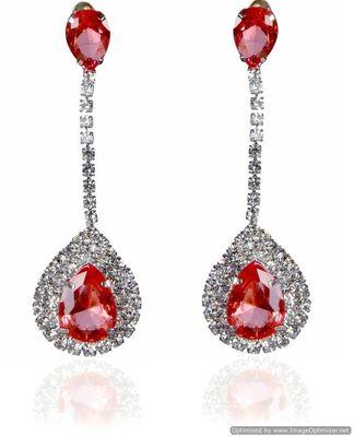 Kshitij Jewels Crystal Stone Studded Long Earrings - Pink