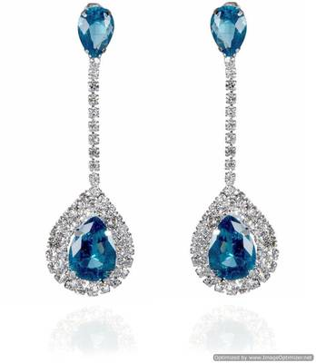 Kshitij Jewels Crystal Stone Studded Long Earrings - Blue
