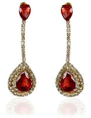 Kshitij Jewels Crystal Stone Studded Long Earrings - Golden Red