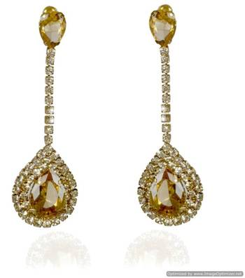 Kshitij Jewels Crystal Stone Studded Long Earrings