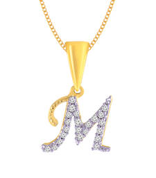 Buy M Letter Cz Initial Men Woman 18K Yellow Plated Fashion Jewels Pendant Pendant online